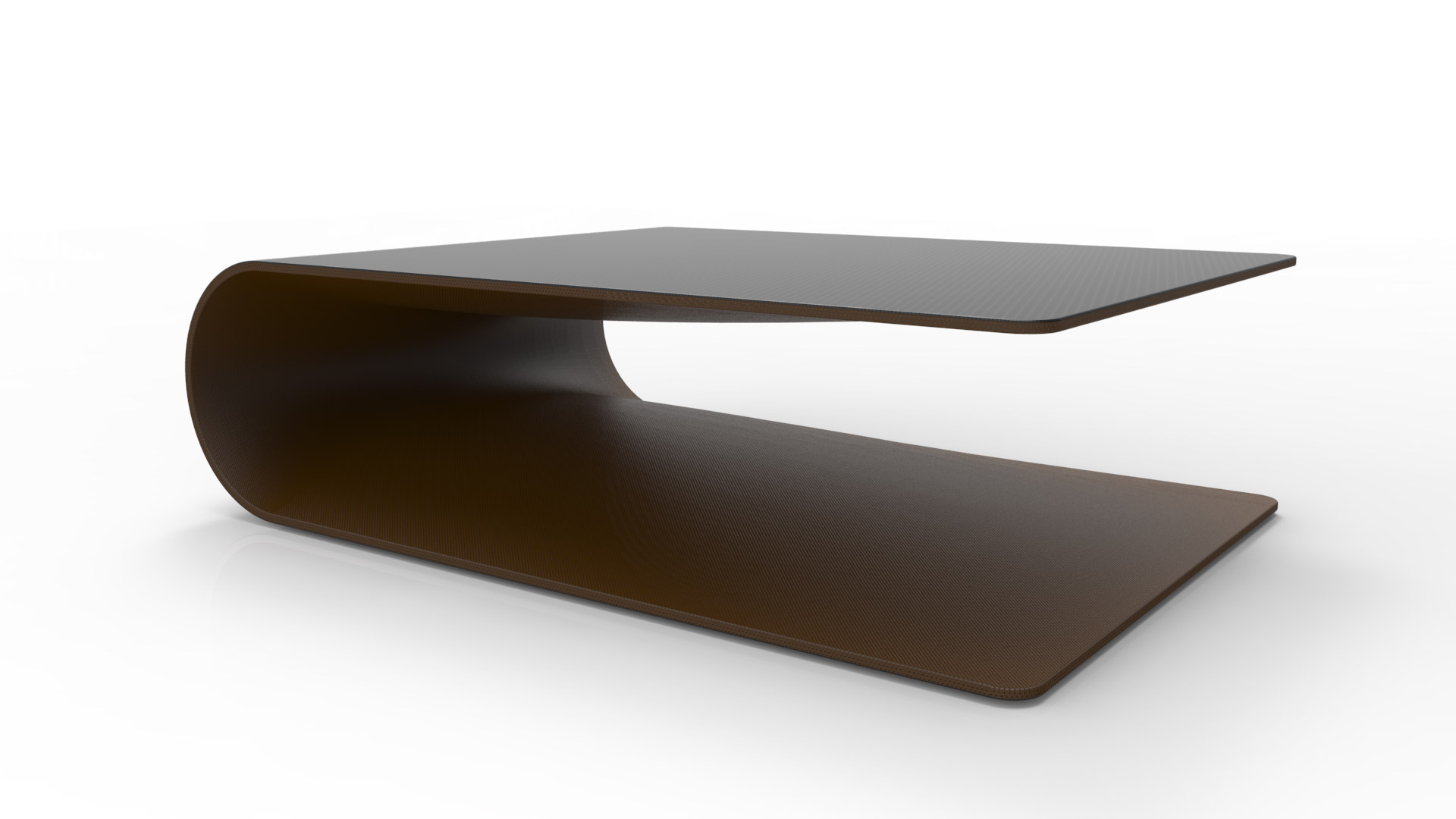 BOOMERANG. Low table or side table made of carbon fiber, Kevlar and structural foam. Leather coated on the inside, matte transparent painted carbon fiber on the outside.