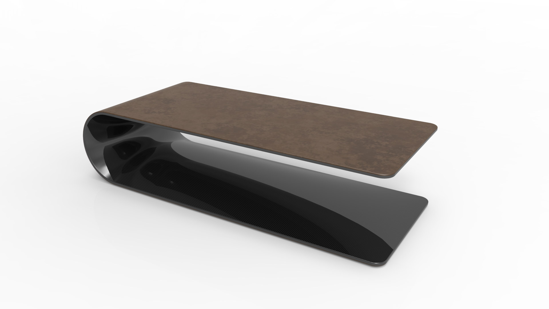 BOOMERANG. Low table or side table made of carbon fiber, Kevlar and structural foam. Leather coated on the outside, glossy transparent painted carbon fiber on the inside.