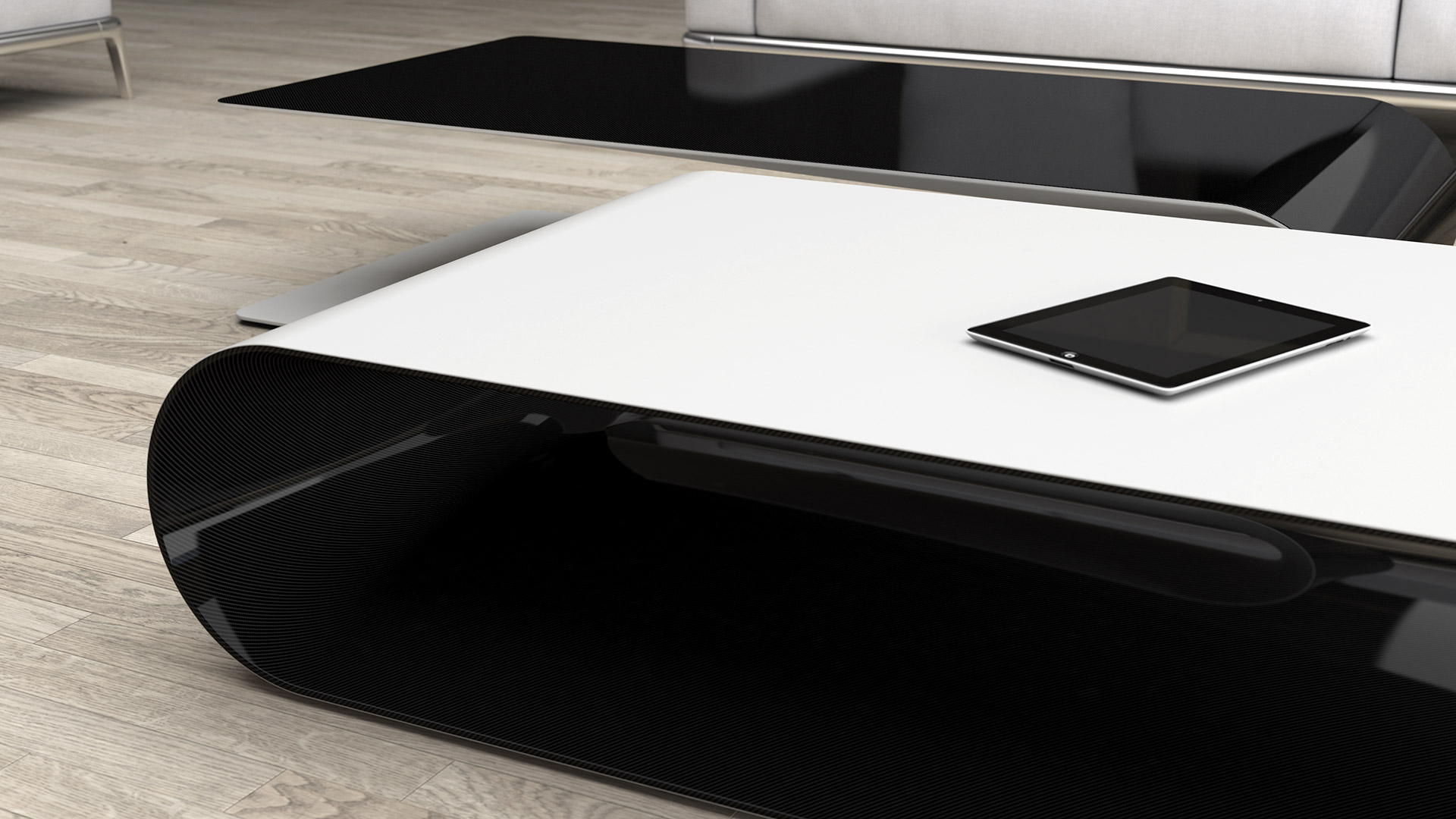 Low Table Or Side Table Made Of Carbon Fiber, Kevlar And Structural Foam