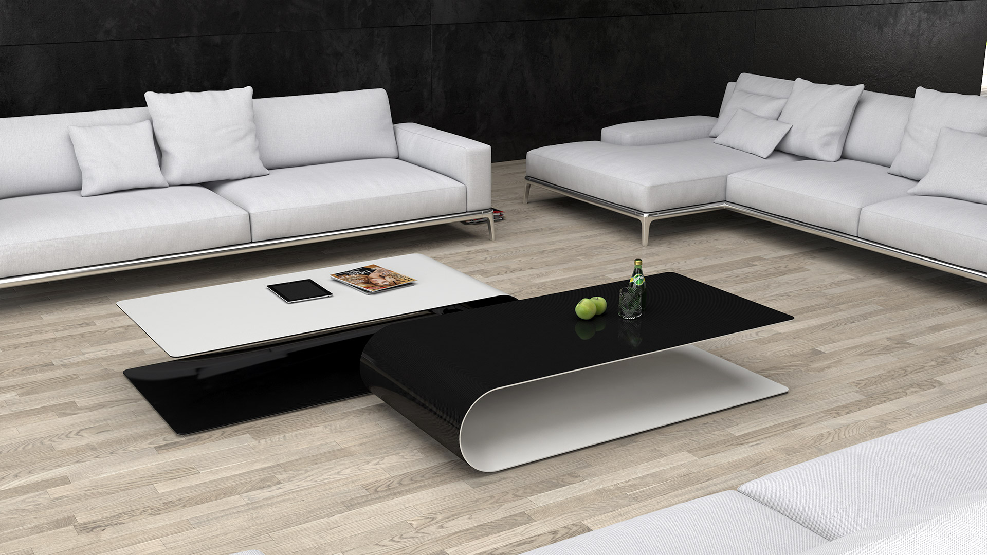 BOOMERANG. Low table or side table made of carbon fiber, Kevlar and structural foam. Matte white painted on the outside, transparent painted carbon fiber on the inside or vice versa.