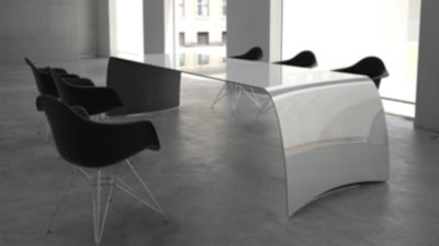 FLOYD /carbon. Dining table or desk. Made of carbon fiber, Kevlar and stainless steel. Painted matte white on top, black on the bottom side.