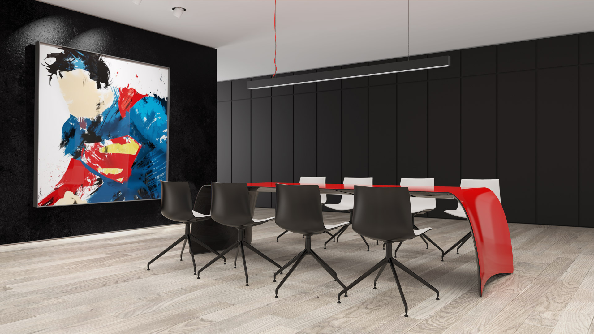 FLOYD /carbon. Dining table or desk. Made of carbon fiber, Kevlar and stainless steel. Painted semigloss red on top, black on the bottom side.