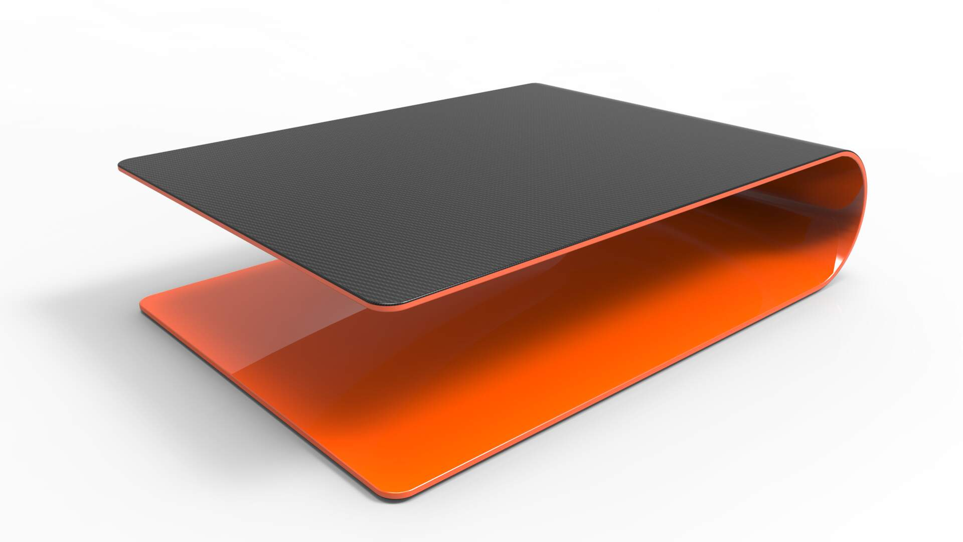 BOOMERANG. Low table or side table made of carbon fiber, Kevlar and structural foam. Glossy orange painted inside, transparent painted carbon fiber outside.