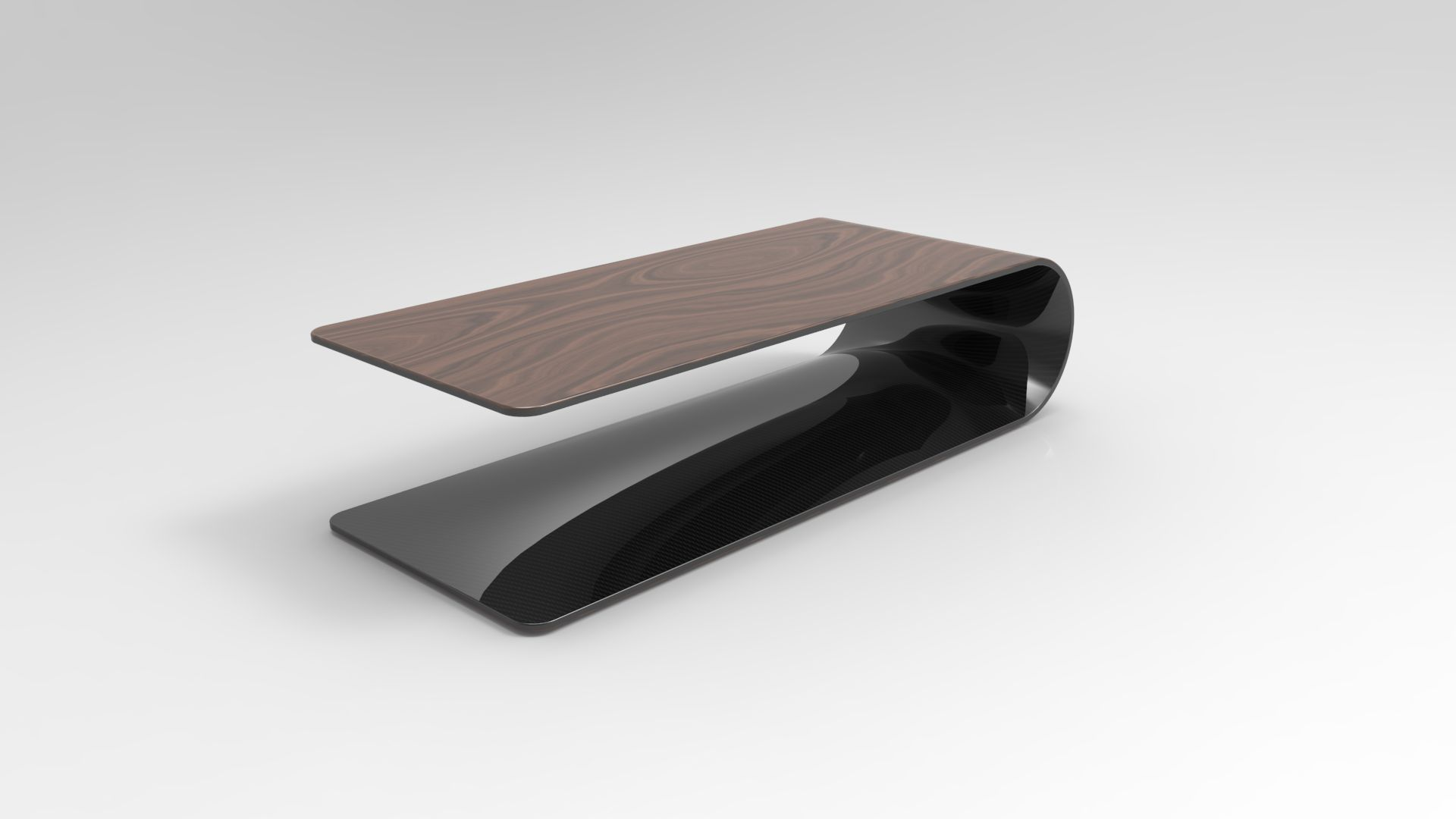 BOOMERANG. Low table or side table made of carbon fiber, Kevlar and structural foam. Veneer on the outside, transparent painted carbon fiber inside.