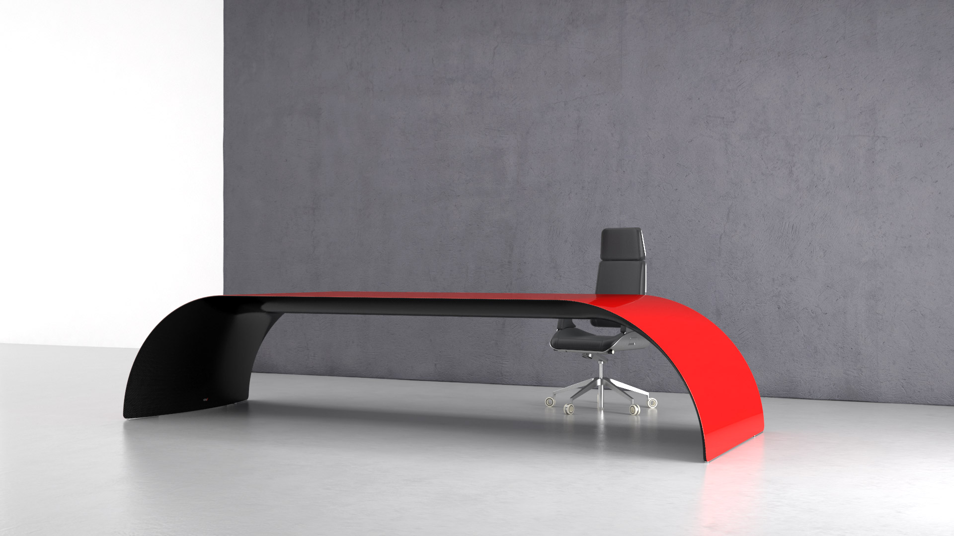 CEO /carbon. Executive desk made of carbon fiber, Kevlar and stainless steel. Painted glossy red on top, transparent glossy on the bottom side.
